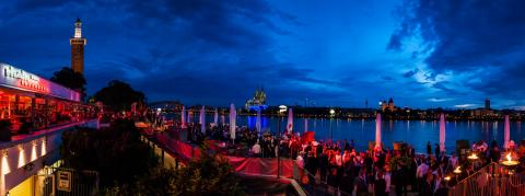 blue hour, party, event, crowd, panoramic view