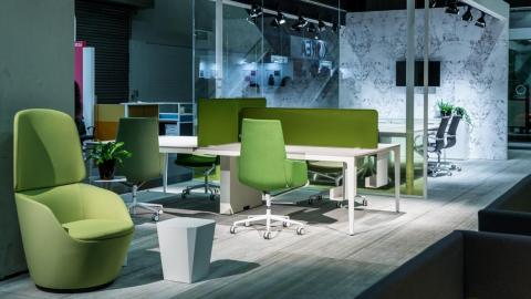office furniture, desk, green
