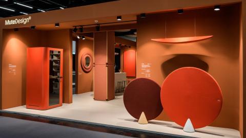 office furniture, orange, accoustic elements