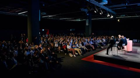 audience, speakers, stage