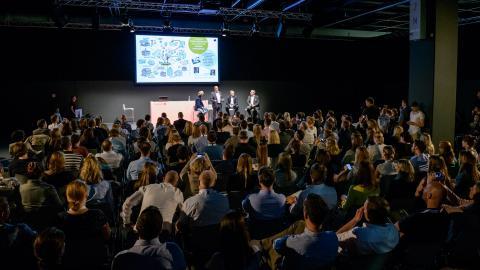 audience, stage, speakers