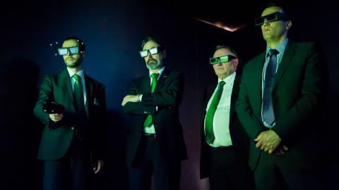 green, men, glasses, virtual reality